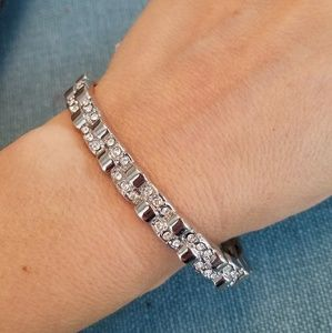 Lia Sophia Foiled cut crystal stretch bracelet